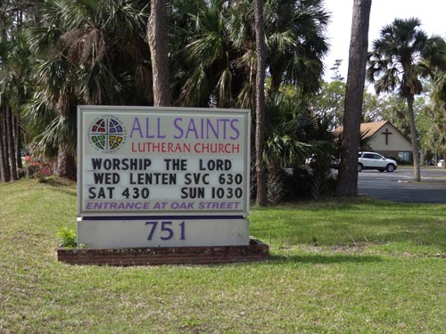 All Saints Lutheran Church located off of Dunlawton Avenue and Oak Street in Port Orange, FL (Volusia County).